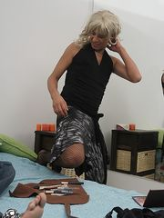 Blond crossdresser abused by brawny honeyboy