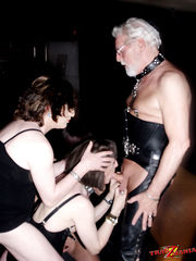 Crossdressing sluts have filthy bondage orgy